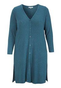 Sweter Zhenzi długi, z dekoltem w serek, melanż, elegancki