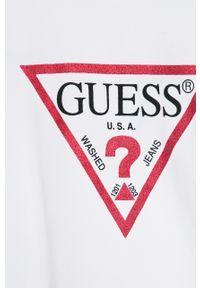 Biała bluzka z krótkim rękawem Guess Jeans z nadrukiem