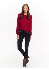 Czarne spodnie TOP SECRET na jesień, na co dzień, w kolorowe wzory, casualowe