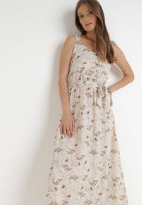 Born2be - Kremowa Sukienka Chreirleiada. Kolor: beżowy. Materiał: materiał. Długość rękawa: na ramiączkach. Wzór: kwiaty, ażurowy, aplikacja. Styl: klasyczny. Długość: maxi