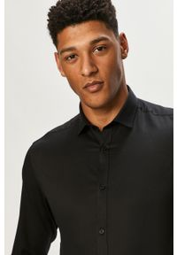 Czarna koszula Premium by Jack&Jones klasyczna, gładkie, z klasycznym kołnierzykiem