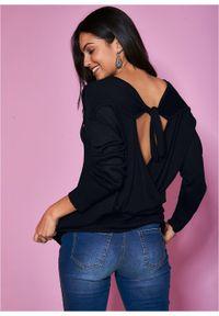 Czarny sweter bonprix z kokardą