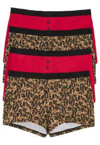 Bokserki damskie (4 pary) bonprix czarno-brązowy z nadrukiem - czerwony. Kolor: czerwony. Wzór: nadruk