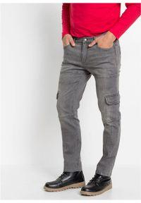 Dżinsy bojówki ze stretchem Slim Fit Straight bonprix szary denim. Kolor: szary