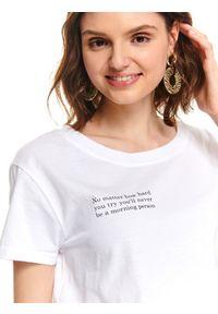 Biały t-shirt TOP SECRET z krótkim rękawem, casualowy, na co dzień, z okrągłym kołnierzem