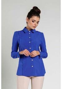 Nommo - Kobaltowa Koszula z Ozdobną Plisą. Kolor: niebieski. Materiał: wiskoza, poliester