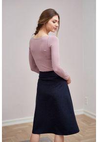 Marie Zélie - Spódnica Verona wełna granatowa. Kolor: niebieski. Materiał: wełna