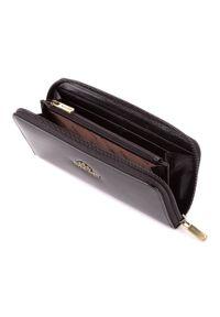Wittchen - Damski portfel ze skóry lakierowany na suwak. Kolor: czarny. Materiał: lakier, skóra. Wzór: aplikacja