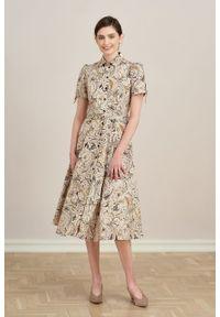 Marie Zélie - Sukienka Ariana Duchesse kremowa. Kolor: kremowy. Materiał: bawełna, wiskoza, tkanina, materiał. Długość rękawa: krótki rękaw. Typ sukienki: szmizjerki, trapezowe