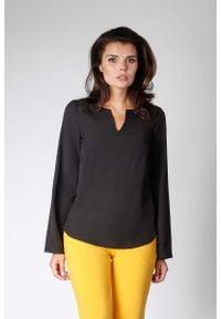 Nommo - Czarna Bluzka z Długimi Rozszerzanymi Rękawami. Kolor: czarny. Materiał: wiskoza, poliester. Długość: długie