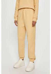 Żółte spodnie materiałowe Samsoe & Samsoe gładkie