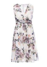 Sukienka koktajlowa bez rękawów, w kwiaty, elegancka