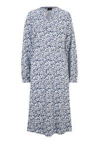 Sukienka midi w kwiaty bonprix ciemnoniebieski w kwiaty. Kolor: niebieski. Materiał: bawełna. Wzór: kwiaty. Długość: midi