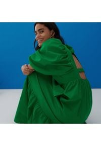 Reserved - Bawełniana sukienka maxi - Zielony. Kolor: zielony. Materiał: bawełna. Długość: maxi