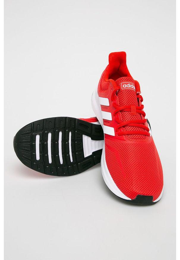 Czerwone buty sportowe Adidas na sznurówki, z cholewką