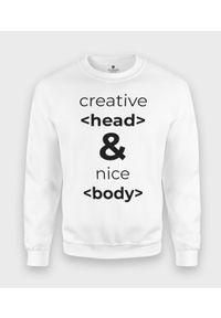 MegaKoszulki - Bluza klasyczna Creative Head & Nice Body. Styl: klasyczny