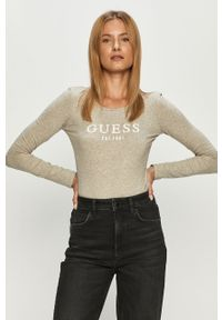 Szara bluzka z długim rękawem Guess Jeans z nadrukiem, z okrągłym kołnierzem