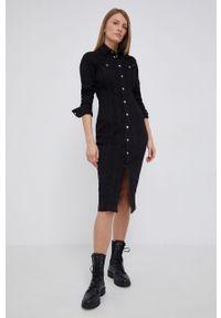 Pepe Jeans - Sukienka jeansowa Claire. Kolor: czarny. Materiał: tkanina. Długość rękawa: długi rękaw. Wzór: gładki