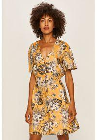 Żółta sukienka TALLY WEIJL na co dzień, w kwiaty, z krótkim rękawem, casualowa