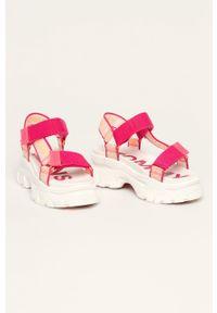 Różowe sandały Tommy Jeans na rzepy