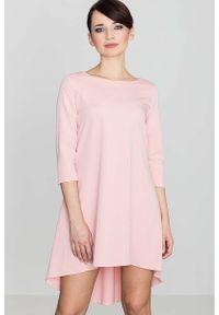 Katrus - Różowa Asymetryczna Sukienka z Plisami. Kolor: różowy. Materiał: wiskoza, poliester. Typ sukienki: asymetryczne