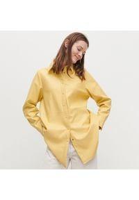 Reserved - Koszula z imitacji skóry - Żółty. Kolor: żółty. Materiał: skóra