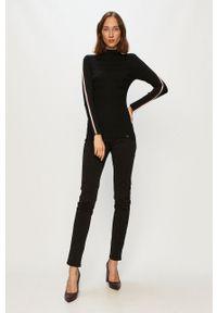 Czarny sweter Morgan z aplikacjami, długi, z długim rękawem, z golfem