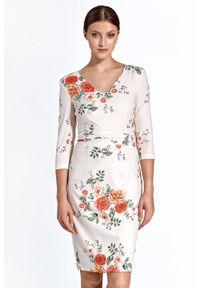 Sukienka koktajlowa prosta, w kwiaty, elegancka