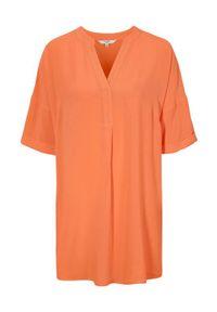 Pomarańczowa tunika Cellbes krótka, ze stójką, z krótkim rękawem