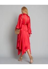 SELF PORTRAIT - Czerwona sukienka midi. Okazja: na ślub cywilny, na wesele, na imprezę, na komunię. Kolor: czerwony. Materiał: materiał. Styl: elegancki. Długość: midi