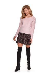 Różowy sweter TOP SECRET z dekoltem w serek