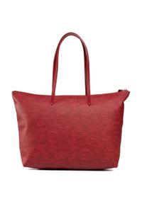 Czerwona torebka klasyczna Lacoste na ramię, casualowa, skórzana