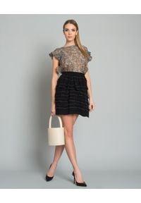 ISABEL MARANT - Spódnica Sefton. Kolor: czarny. Materiał: bawełna, poliester, materiał. Wzór: aplikacja. Styl: elegancki