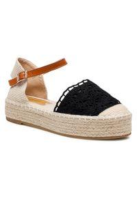 Czarne sandały DeeZee na średnim obcasie, na obcasie