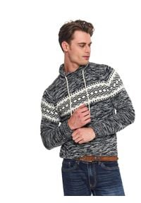 Szary sweter TOP SECRET w kolorowe wzory, z golfem, na co dzień, długi
