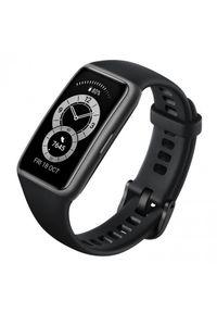 HUAWEI - Opaska sportowa Huawei Band 6 czarny. Rodzaj zegarka: cyfrowe. Kolor: czarny. Materiał: włókno. Styl: sportowy