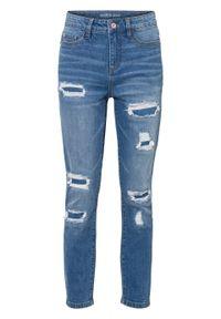 """Dżinsy 7/8 Super Skinny """"destroyed"""", z bawełny organicznej bonprix niebieski denim. Kolor: niebieski. Długość: krótkie. Styl: elegancki"""