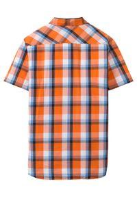 Koszula z krótkim rękawem Slim Fit bonprix pomarańczowy w kratę. Kolor: pomarańczowy. Długość rękawa: krótki rękaw. Długość: krótkie. Wzór: nadruk