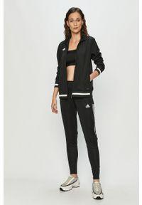 Czarna bluza rozpinana adidas Performance bez kaptura, casualowa, na co dzień