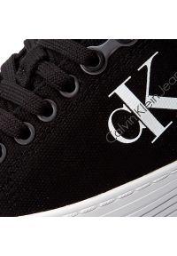 Czarne półbuty na koturnie Calvin Klein Jeans z cholewką, na sznurówki, eleganckie