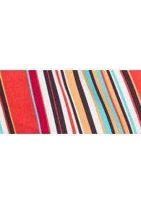 TOP SECRET - Bluzka krótki rękaw damska. Kolor: pomarańczowy. Materiał: tkanina. Długość rękawa: krótki rękaw. Długość: krótkie. Wzór: paski. Sezon: zima, jesień. Styl: elegancki