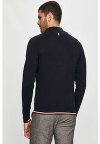 Niebieski sweter rozpinany Tommy Hilfiger Tailored na co dzień, z aplikacjami