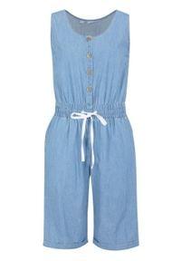 """Kombinezon dżinsowy bawełniany, z szerokim wygodnym paskiem bonprix niebieski """"bleached"""". Kolor: niebieski. Materiał: bawełna"""