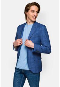 Lancerto - Marynarka Niebieska w Kratę Donegal 2. Kolor: niebieski. Materiał: tkanina, poliester, jeans, wełna. Wzór: ze splotem, kolorowy. Sezon: lato, wiosna