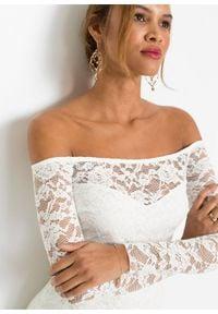 Sukienka z koronką bonprix biel wełny. Okazja: na ślub cywilny, na wesele. Kolor: biały. Materiał: wełna, koronka. Wzór: koronka