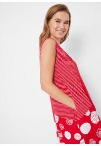 Sukienka z dżerseju w fasonie o linii O bonprix czerwono-biały w kropki. Kolor: czerwony. Materiał: jersey. Wzór: kropki