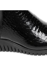 Czarne botki The FLEXX na obcasie, na średnim obcasie, z cholewką