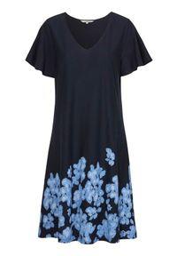 Niebieska sukienka Cellbes rozkloszowana, z dekoltem w serek, elegancka, z nadrukiem
