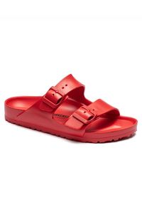 Birkenstock - BIRKENSTOCK - Czerwone klapki Arizona EVA Active. Okazja: na plażę. Kolor: czerwony. Materiał: tworzywo sztuczne, materiał. Wzór: paski