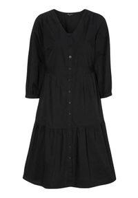 Happy Holly Sukienka Adelyn Czarny female czarny 40/42. Typ kołnierza: dekolt w serek. Kolor: czarny. Materiał: tkanina, bawełna